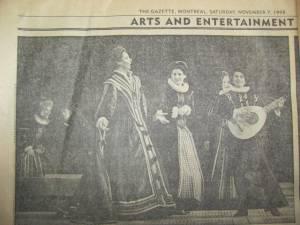 dans la Gazette, Opéra de Montréal (1998)